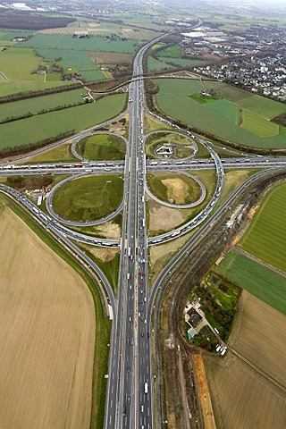 Aerial photo, Kamen cross, junction A1 A2, Kamen, Ruhr Area, North Rhine-Westphalia, Germany, Europe