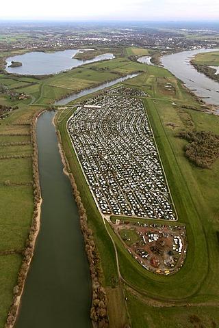 Aerial view, large ground camping, Grav-Insel island, Rhine river, Wesel, Niederrhein region, North Rhine-Westphalia, Germany, Europe