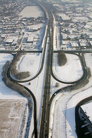Aerial photo, A2 highway exit roads, Rhynern, Hamm, Ruhr area, North Rhine-Westphalia, Germany, Europe