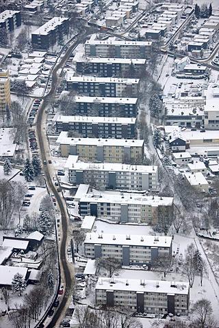 Aerial view, apartment buildings, snow, Buettenberg, Ennepetal, North Rhine-Westphalia, Germany, Europe