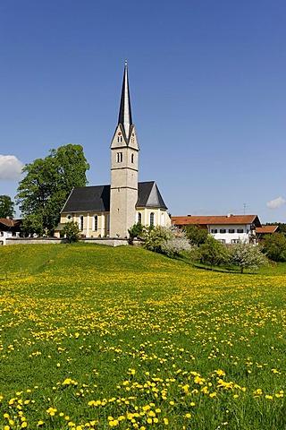 St. Leonhard-Kirche church, Reichersdorf at the Seehamer See lake, Upper Bavaria, Bavaria, Germany, Europe