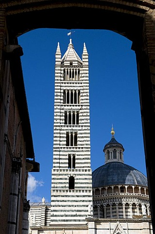 Duomo Santa Maria Assunta Cathedral, Campanile, Siena, Unesco World Heritage Site, Tuscany, Italy, Europe