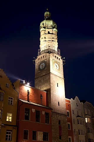 City tower in the historic centre, night shot, provincial capital Innsbruck, Tyrol, Austria, Europe