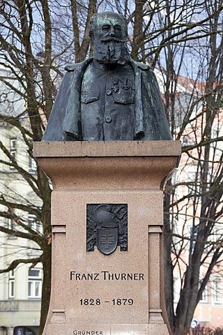Franz Thurner, 1828-1879, founder, statue, provincial capital Innsbruck, Tyrol, Austria, Europe