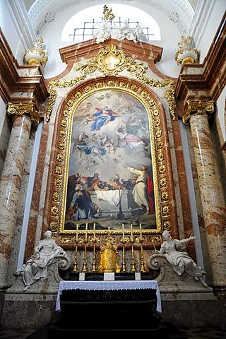 Detail, side altar, interior, Karlskirche church, built 1716-1737, Vienna, Austria, Europe
