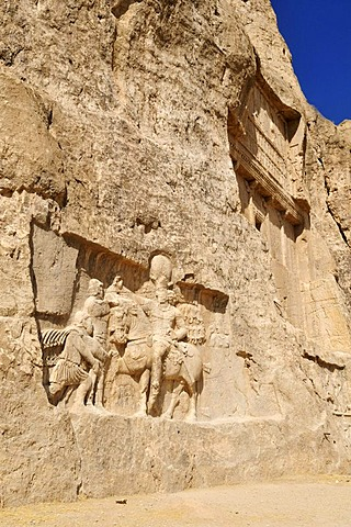 Historic Sassanid relief of the triumph of King Shapur I. over the Roman Emperor Valerian and Philip the Arab and tomb of King Darius, Dareios I. at the Achaemenid burial site Naqsh-e Rostam, Rustam near the archeological site of Persepolis, UNESCO World