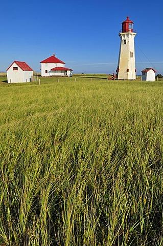 Lighthouse of Bassin at Cap du Sud, Ile du Havre Aubert, Iles de la Madeleine, Magdalen Islands, Quebec Maritime, Canada, North America