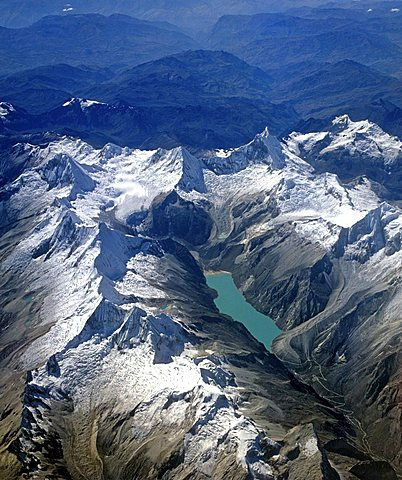 Laguna Paron mountain lagoon, Cordillera Blanca, aerial view, Andes, Peru, South America - 832-15917