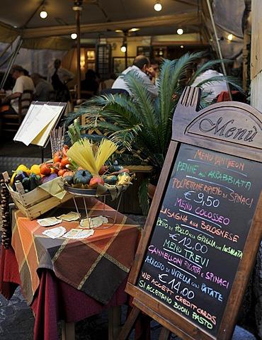 Tourist menu of a restaurant, Rome, Lazio, Italy, Europe