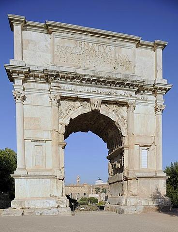 Arch of Titus in the Forum Romanum or Roman Forum, Rome, Lazio, Italy, Europe