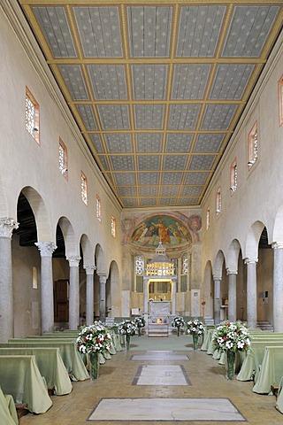 Interior with wedding decoration from San Giorgio in Velabro, Rome, Italy, Europe