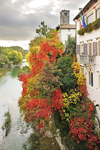 Natisone river from the Devil's Bridge, autumnal colours, Cividale, Friuli, Italy, Europe