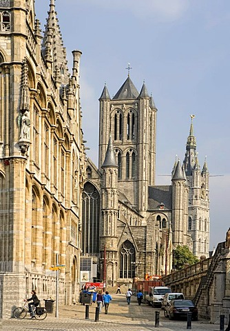 On the left, the historistic post office in neo-Gothic style, on the right St. Nicholas hurch, the Belfry behind, Graslei, Ghent, Flanders, Belgium, Europe