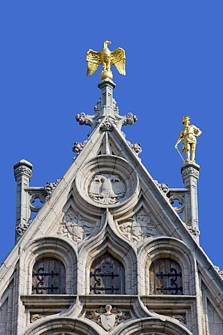 Facades of a guild house on the Grote Markt square, Antwerp, Flanders, Belgium, Europe