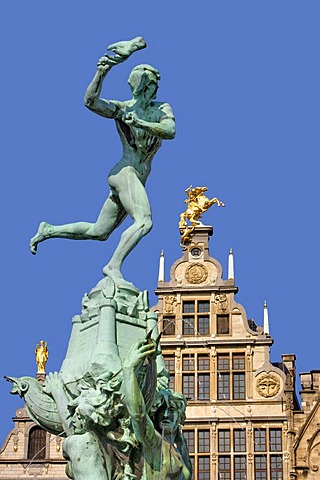 The Silvius Brabo fountain and facade of a guild house on the Grote Markt square, Antwerp, Flanders, Belgium, Europe