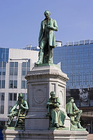 Monument of John Cockerill in front of the European Parliament, Brussels, Belgium, Europe