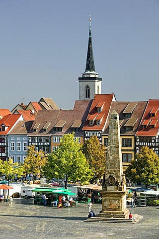 Domplatz cathedral square with market column in Erfurt, Thuringia, Germany, Europe