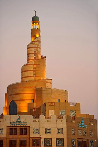 Evening, spiraled tower of the Fanar, Qatar Islamic Cultural Center, Doha, Qatar, Persian Gulf, Middle East, Asia