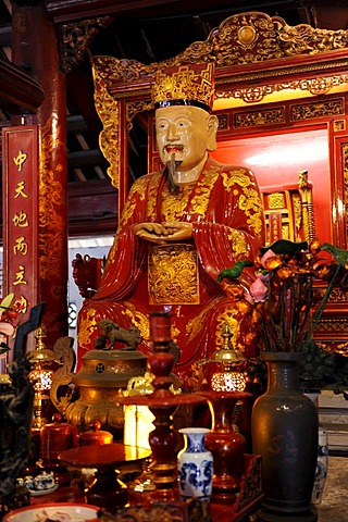 Statue of Confucius, Temple of Literature, Van Mieu, Hanoi, North Vietnam, Vietnam, Southeast Asia, Asia