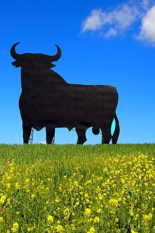Bull silhouette, typical advertising of Spanish sherry Osborne, Malaga, Andalusia, Spain, Europe