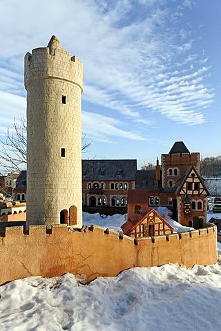 Large outdoor model of Burg Anhalt castle in winter, Ballenstedt, northern Harz, Saxony-Anhalt, Germany, Europe