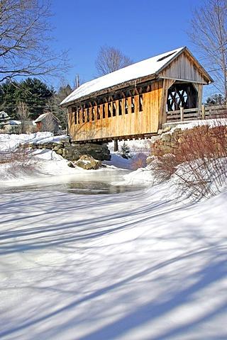 Covered bridge, Cilleyville Bog bridge, snow, winter, New Hampshire, New England, USA