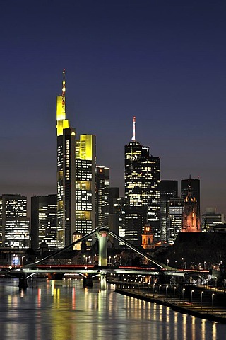 Frankfurt skyline seen from the east with Floesserbruecke bridge, Frankfurt am Main, Hesse, Germany, Europe