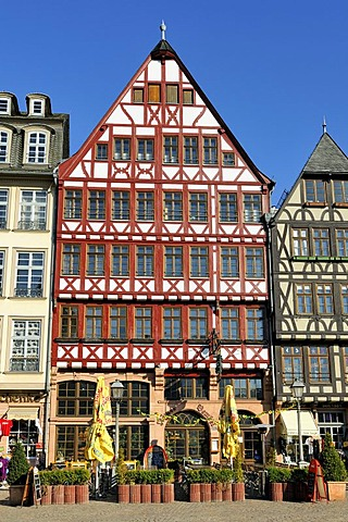 Reconstructed half-timbered house in the Eastern row of the Roemerberg square or Samstagsberg, Frankfurt am Main, Hesse, Germany, Europe