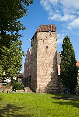 Pulverturm, Powder Tower, medieval tower, Eberbach, Rhein-Neckar-Kreis district, Baden-Wuerttemberg, Germany, Europe