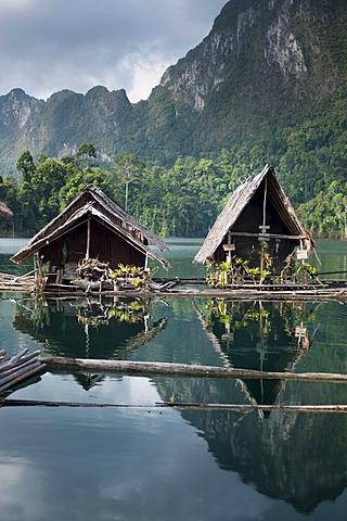 Floating bungalows, Khao Sok National Park, man-made reservoir, Chiao Lan Lake, Surat Thani, Thailand, Asia