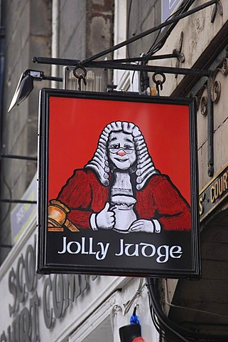 Jolly Judge, pub sign, Edinburgh, Scotland, United Kingdom, Europe