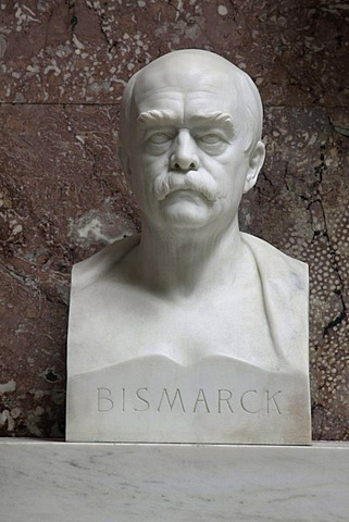 Bust of Otto von Bismarck, Walhalla temple, Donaustauf, Bavaria, Germany, Europe