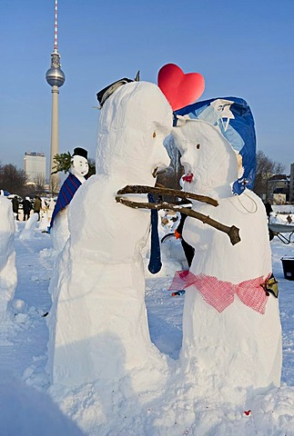 Snowman-Demo 2010 on Schlossplatz Square, Berlin, Germany, Europe