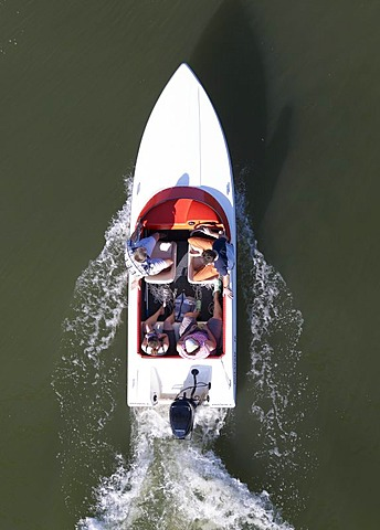 Motor boat from above
