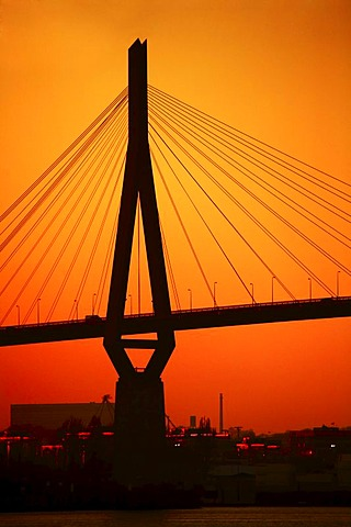 Koehlbrandbruecke Bridge, bridge piers, backlit, sunset, Hamburg, Germany, Europe