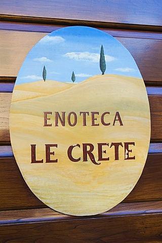 Enoteca sign, Pienza, Tuscany, Italy, Europe