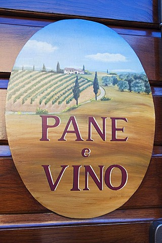 Wine shop sign, Pienza, Tuscany, Italy, Europe