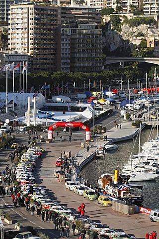 Presentation of the racing cars of the Monte Carlo Rally 2010, port of La Condamine, Monaco, Cote d'Azur, Europe