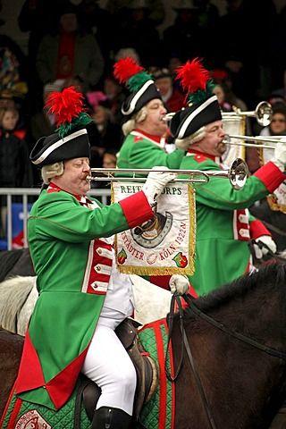 Rider group with fanfares at the Rosenmontagszug parade, Carnival 2010 in Cologne, North Rhine-Westphalia, Germany, Europe