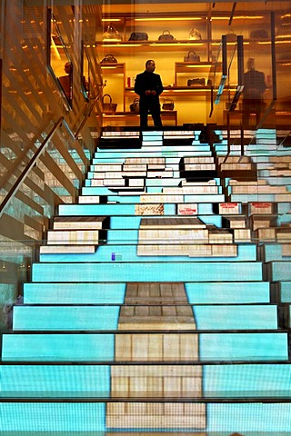 Video effect on the steps in fashion store and jeweller's Louis Vuitton, Via dei Condotti, Rome, Lazio, Italy, Europe
