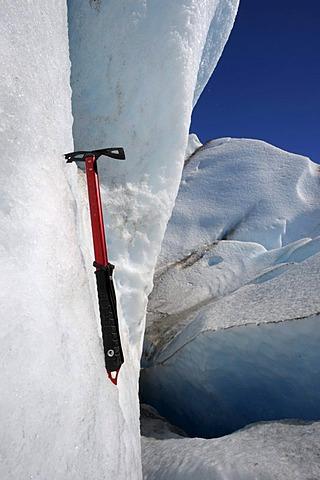 Ice axe in glacial ice, glacier, detail, Viedma Glacier, El Chalten, Patagonia, Argentina, South America