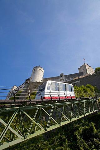 Festungsbahn funicular and the Festung Hohensalzburg fortress, cable car, Salzburg, Austria, Europe