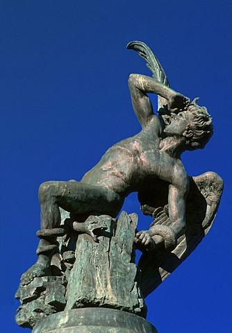 Fallen Angel sculpture in the Retiro Park, Madrid, Spain, Europe