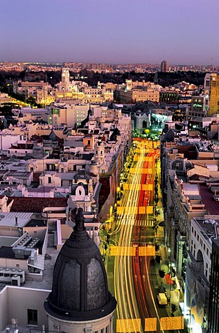 Gran Via street at dusk with Christmas illumination, Madrid, Spain, Europe