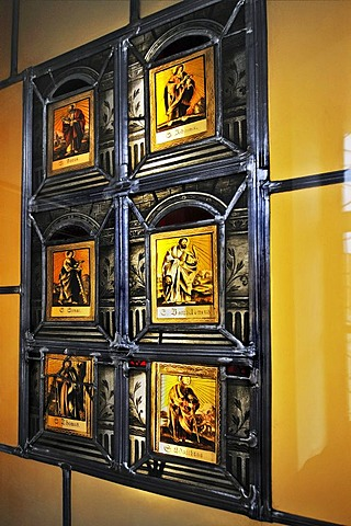 Leadlight windows from 1590, Benedictine Abbey in Ottobeuren, Bavaria, Germany, Europe