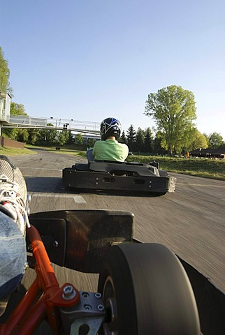 Kart racing, karting, racetrack, auto racing, speed, competition, Garching, Hochbrueck, Munich, Bavaria, Germany, Europe