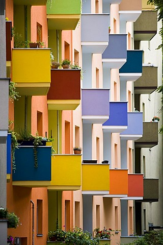 Colourful house facade after renovations, Berlin-Kreuzberg, Germany, Europe
