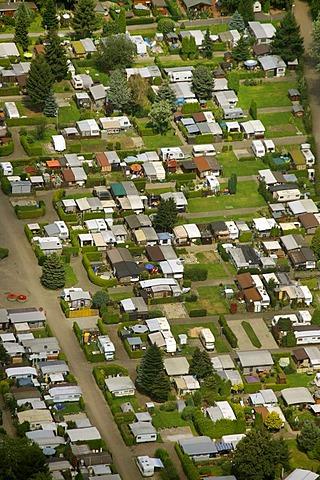 Aerial view, camping ground, Ruhrufer Hattingen, Homberg, Ruhrgebiet region, North Rhine-Westphalia, Germany, Europe