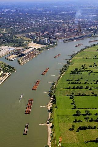 Aerial photo, ThyssenKrupp Steel steel mill, inland waterway, port Schwelgern, ore push tows, Binsheim, Duisburg, Rhine floodplains, Ruhrgebiet region, North Rhine-Westphalia, Germany, Europe