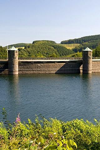 Fuerwiggetalsperre, Fuerwigge Dam between Meinerzhagen and Luedenscheid in Ebbegebirge Nature Park, Sauerland, North Rhine-Westphalia, Germany, Europe
